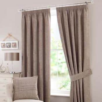 Chenille Taupe Lined Pencil Pleat Curtains Taupe | £110.00 | Port
