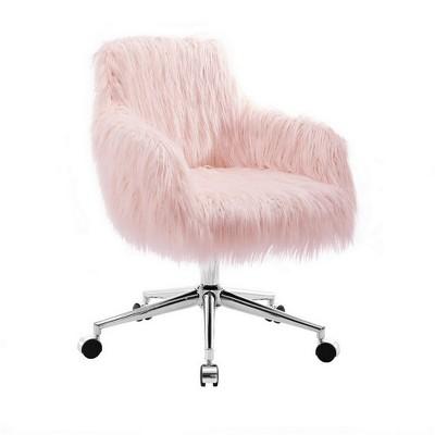 Fiona Chrome Base Office Chair Blush Pink - Linon : Target