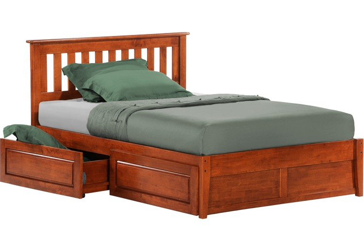 Rosemary Platform Captains Storage Bed Frame Cherry | The Futon Shop