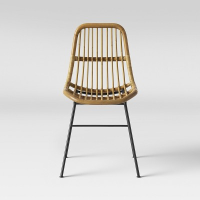 Linnet Rattan Dining Chair With Metal Legs Light Brown - Opalhouse