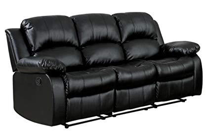 Amazon.com: Homelegance Double Reclining Sofa, Black Bonded Leather