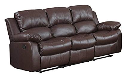 Amazon.com: Bonded Leather Double Recliner Sofa Living Room