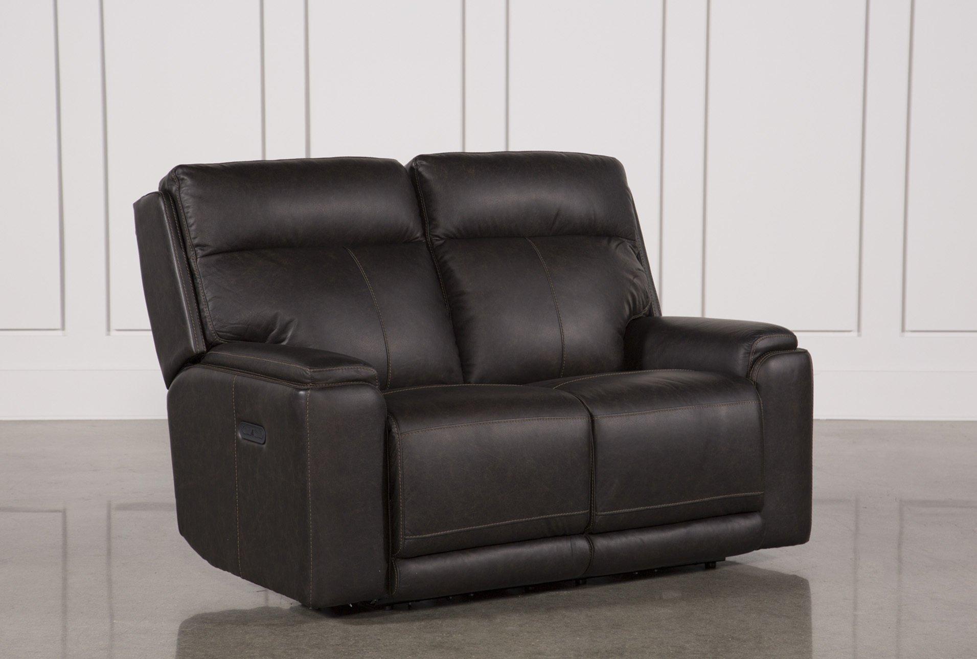 Sinjin Leather Power Reclining Loveseat W/Power Headrest | Living Spaces