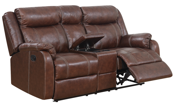 Gin Rummy Pub-Back Reclining Leather Loveseat|The Dump Luxe