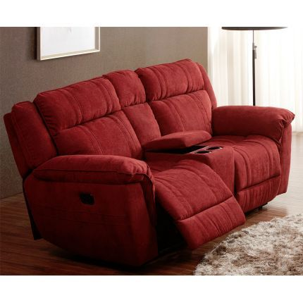 Cranberry Microfiber Power Reclining Loveseat - K-Motion | furniture
