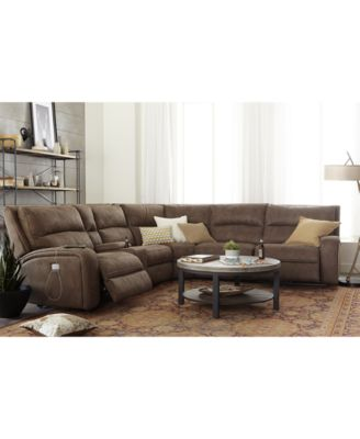 Furniture Brant Fabric & Leather Power Reclining Sectional Sofa