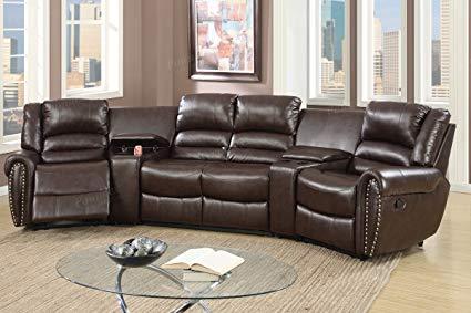 Amazon.com: 5pcs Brown Bonded Leather Reclining Sofa Set Home