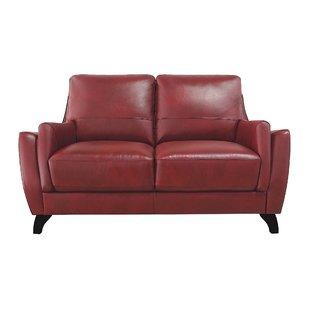 Barnstorm Red Leather Loveseat | Wayfair