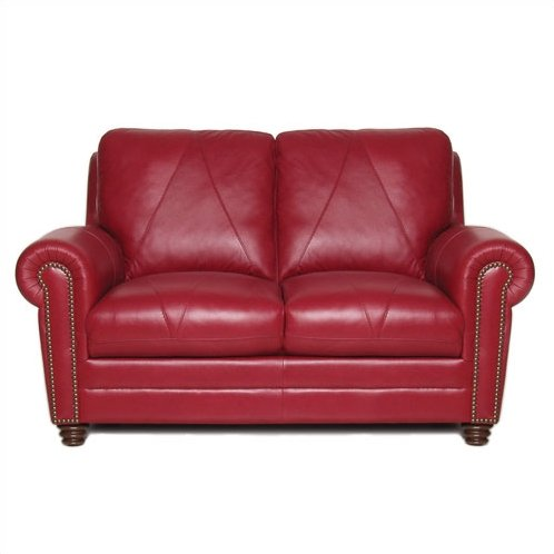 Red leather loveseat – perfect furniture   for a classic home theme