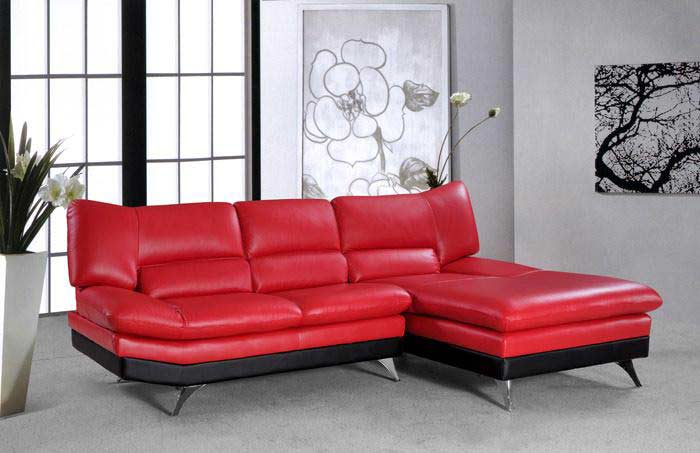 VG-4 Sectional Sofa Bright Red leather | Sectionals