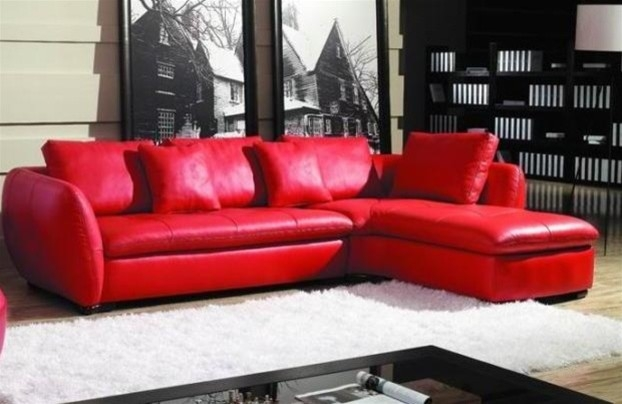 Magnificent Amazing Red Leather Sectional Sofa 32 Living Room Sofa