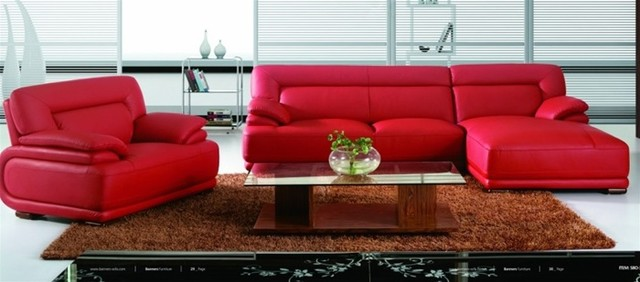 Modern Red Leather Sectional Sofa with Chair - Modern - Living Room