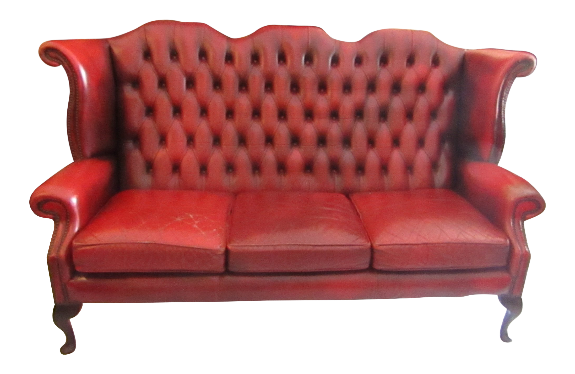 1960s Americana Red Leather Tufted Tall Back Sofa | Chairish