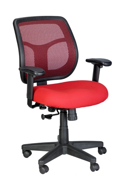 Eurotech Apollo Red Mesh Back Office Chair with Bright Red Fabric