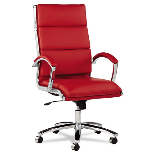 Neratoli Red High Back Swivel Tilt Chair Chrome Frame by Alera ALE