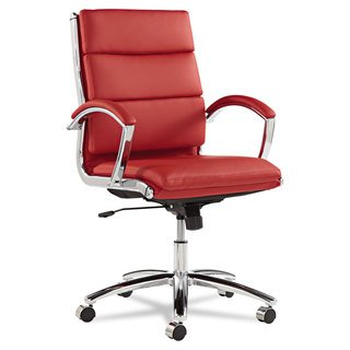 Shop Alera Neratoli Series Red Leather with Chrome Frame Mid-Back