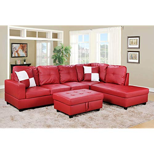 Red Leather Sectional Sofa: Amazon.com