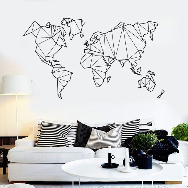 new geometric world map vinyl wall decals home decor living room