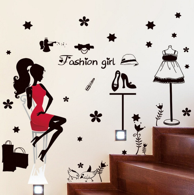 Fashion shopping girl wall stickers decals home decor living room