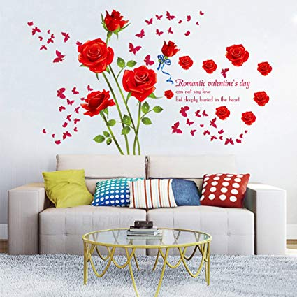 DecalMile Red Rose Removable Wall Stickers Removable Flower Wall