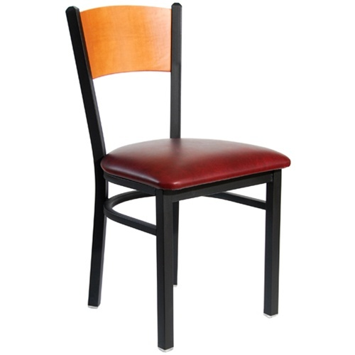 BFM Seating Dale Black Metal Solid Wood Back Restaurant Chair with