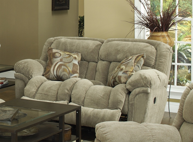 Tundra Rocking Reclining Loveseat in Sage Fabric Upholstery by