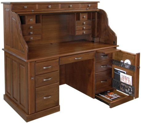 Professors Walnut Roll Top Desk - Countryside Amish Furniture