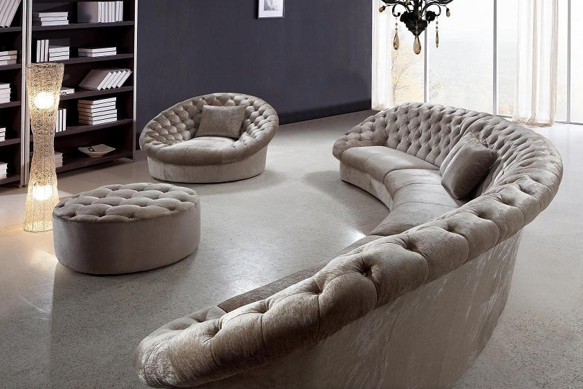 Leon Fabric Sectional Sofa, Chair and Round Ottoman | Fabric