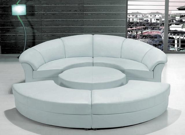 Stylish White Leather Circular Sectional Sofa - Modern - Living Room