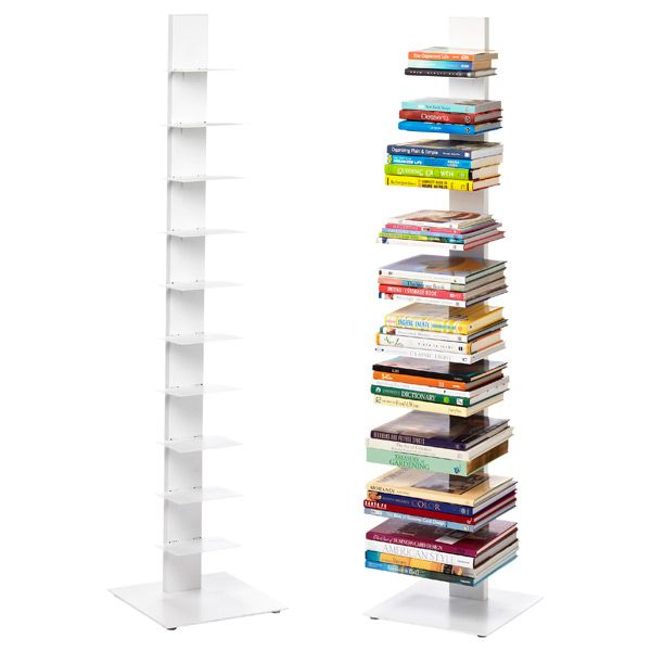 White Floating Bookshelf | Office Organization | Bookcase, Sapien