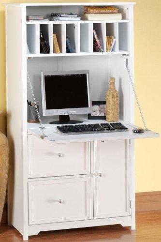 Amazon.com: Oxford Tall Secretary Desk, 1-DOOR/2-DRAWER, WHITE