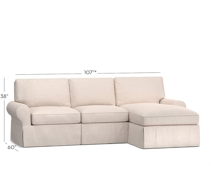 PB Basic Slipcovered Sofa with Chaise Sectional | Pottery Barn