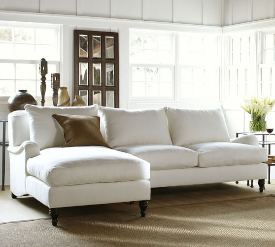 Carlisle Upholstered Sofa with Chaise Sectional | Pottery Barn