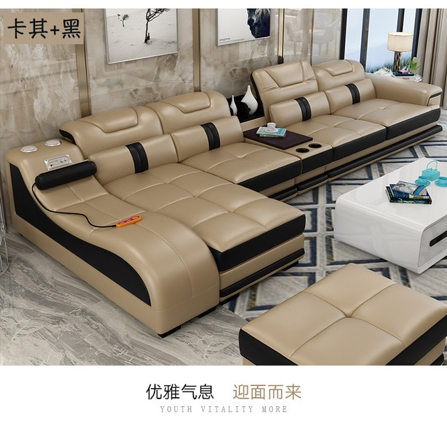 Living Room Sofa set corner sofa massage real genuine cow leather