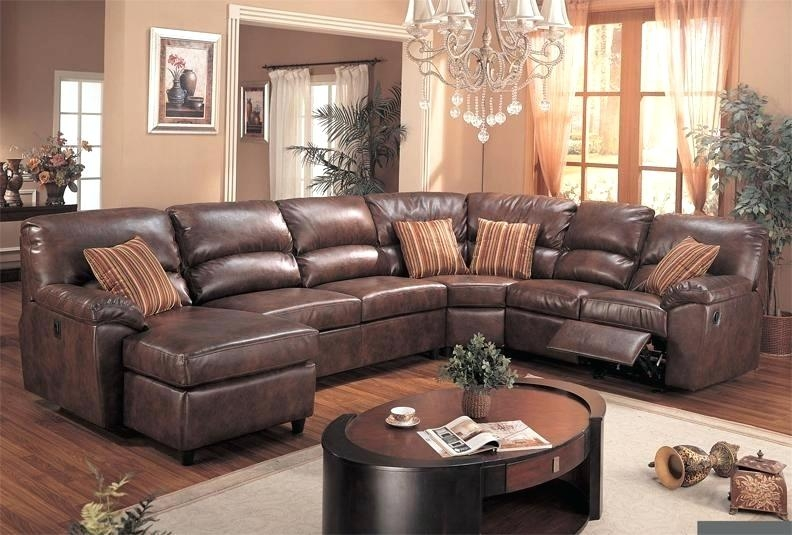 Stylish Leather Sectional Sleeper Sofa With Recliners Brown Leather