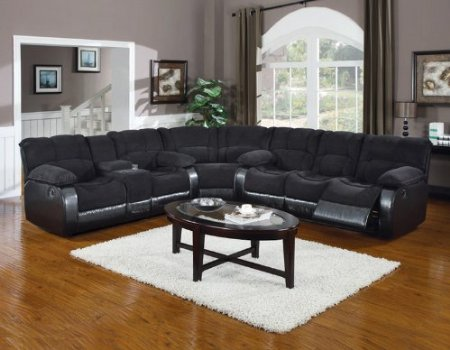 Microfiber And Leather Sectional Sleeper Sofa With Chaise And