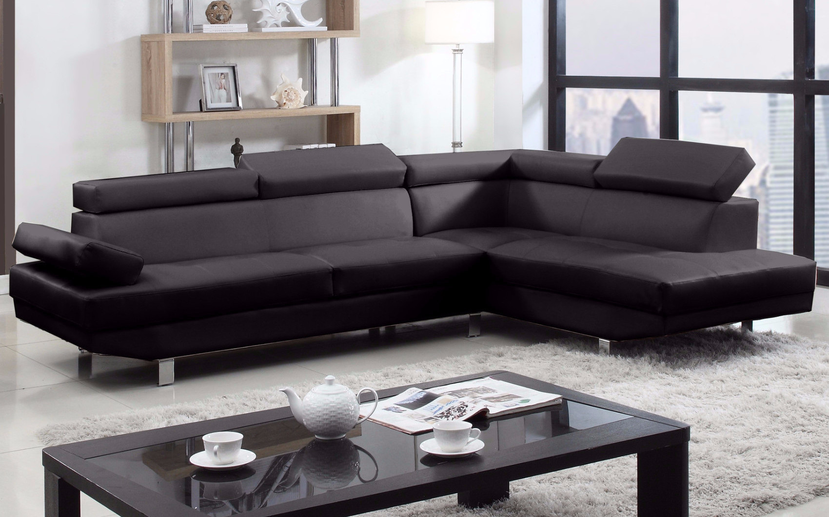 2 Piece Modern Bonded Leather Right Facing Chaise Sectional Sofa
