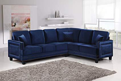 Amazon.com: Meridian Furniture 655Navy-Sectional Ferrara Velvet
