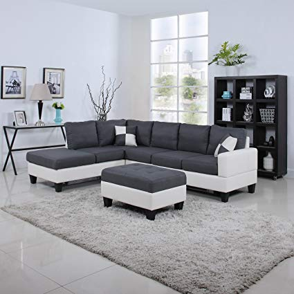 Amazon.com: Classic Two Tone Large Linen Fabric and Bonded Leather