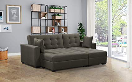 Amazon.com: BroyerK 3 pc Reversible Sleeper Sectional Sofa Bed
