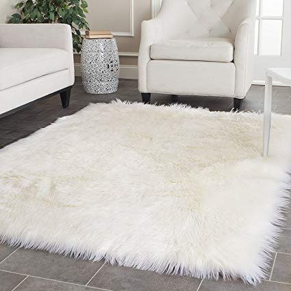 Amazon.com: OFLBA White Fux Sheepskin Rug Fur Blanket Area Shag Rug
