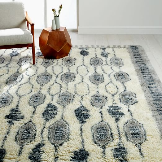 Royal Grid Shag Rug - Platinum | west elm