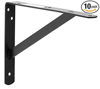 Decko 49144 Heavy Duty Shelf Bracket, 10.5-Inch by 7.5-Inch, Black