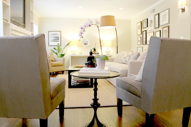 Pair Of Grey Side Chairs Transitional Living Room Los Angeles Modern