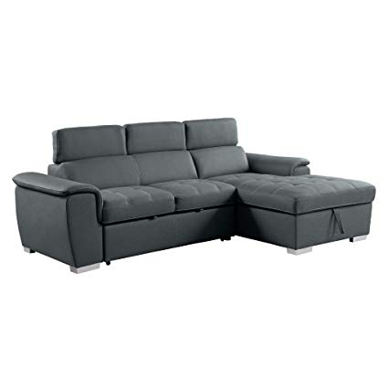 Amazon.com: Homelegance 8228 Sleeper Sectional Sofa with Storage