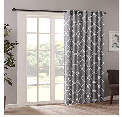 Amazon.com: 1pc 84 Grey Color Geometric Sliding Door Curtain, Gray