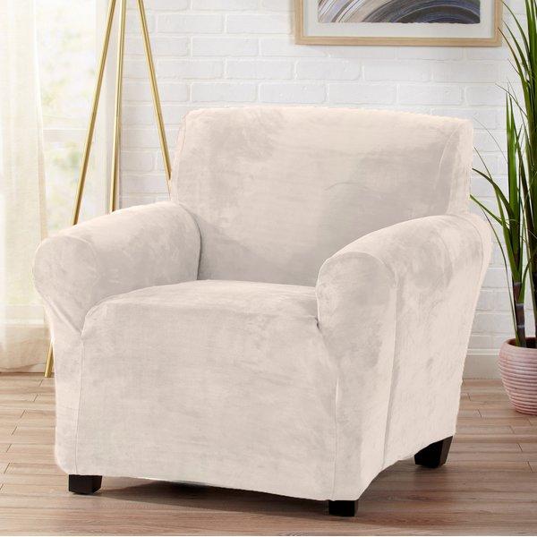 Symple Stuff Velvet Plush Form Fit Stretch T-Cushion Armchair