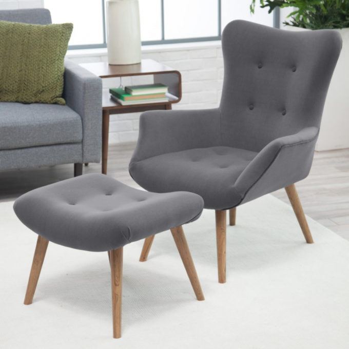 Furniture: Immaculate Small Chair And Ottoman Applied To Your