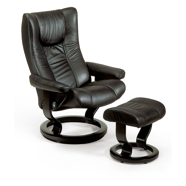 Stressless® Wing Small Chair & Ottoman | Classic Base | View Options