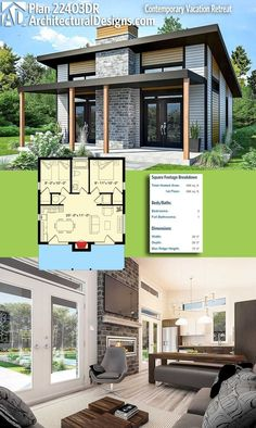 Small Modern cabin house plan by FreeGreen | Energy Efficient House